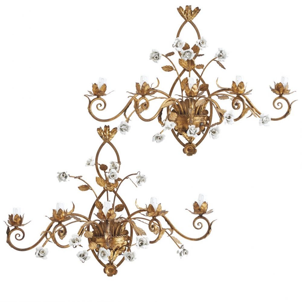 French Ormolu Floral Sconces