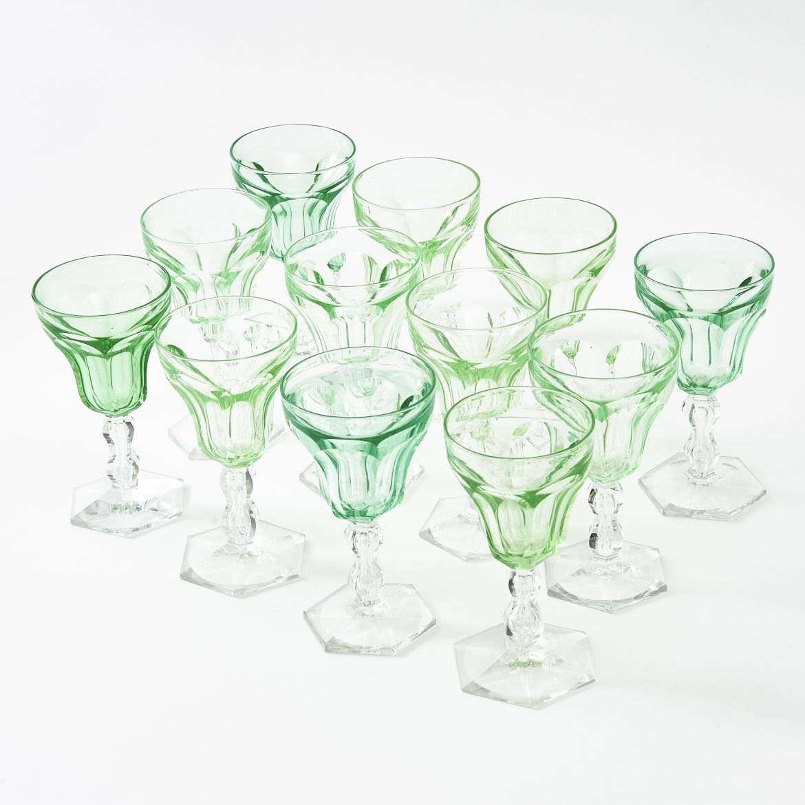 Twelve Uranium Green Glasses