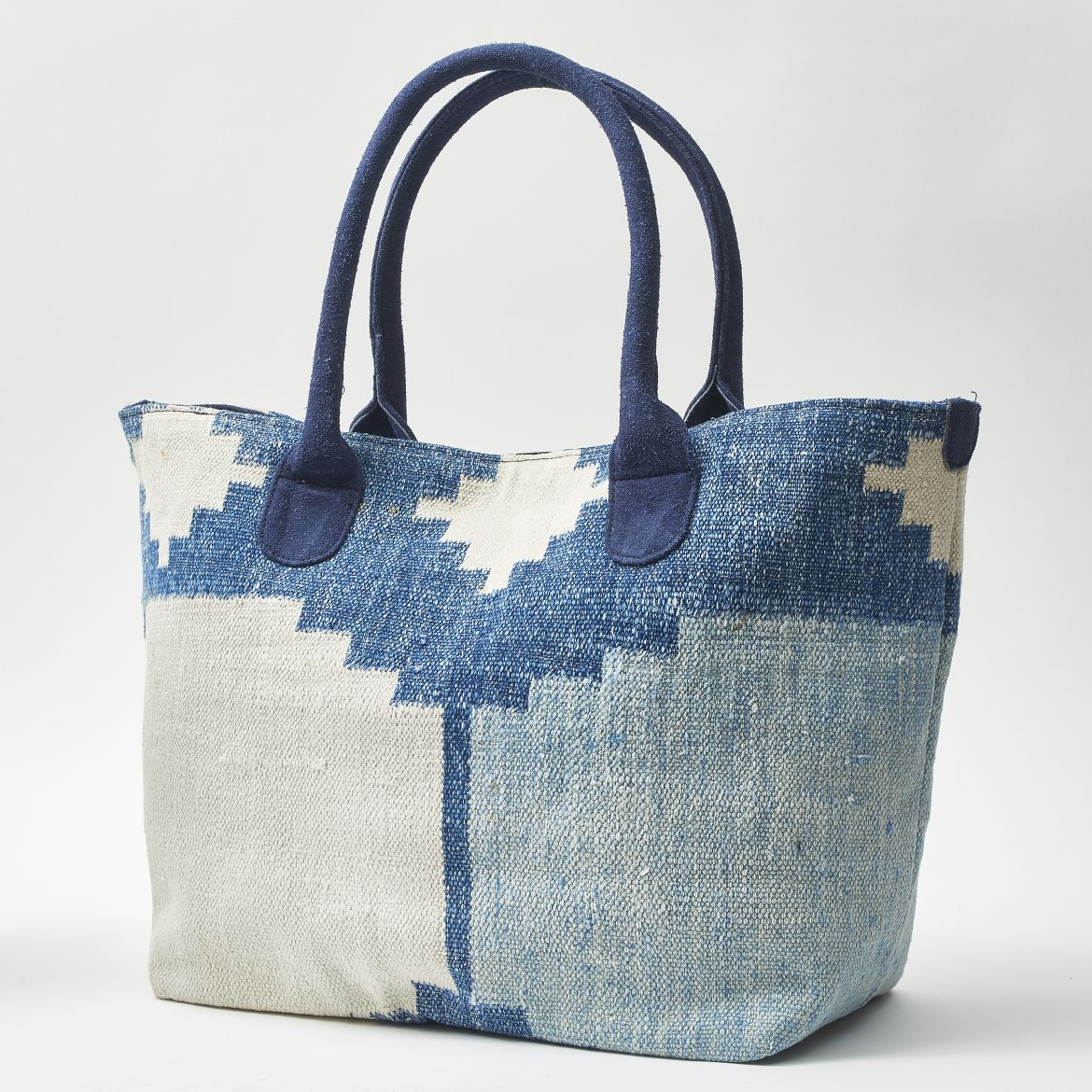 Blue Tiled Dhurrie Bag