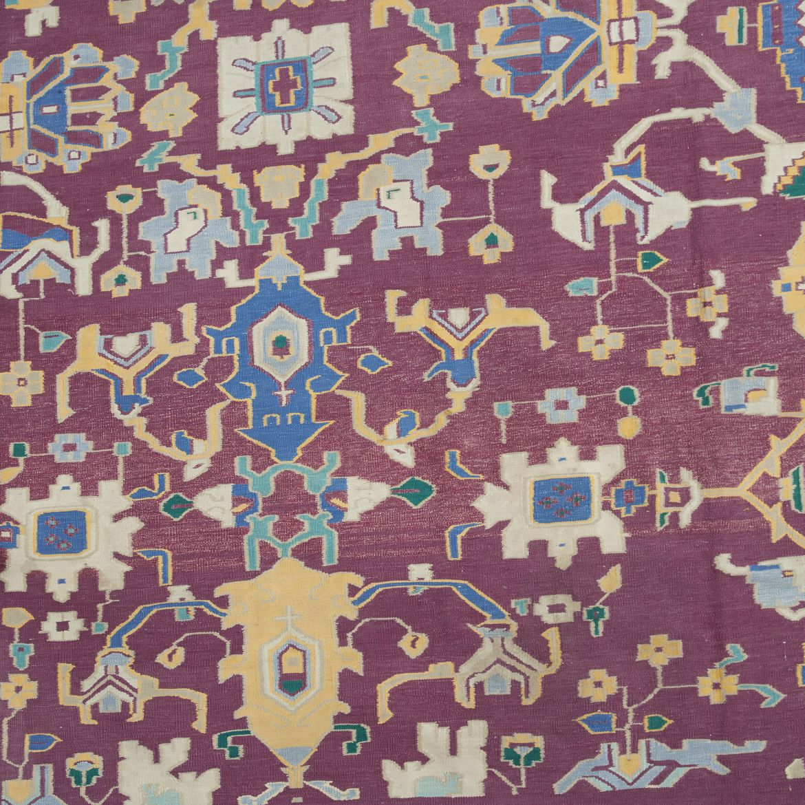 Unusual C19th Agra Carpet