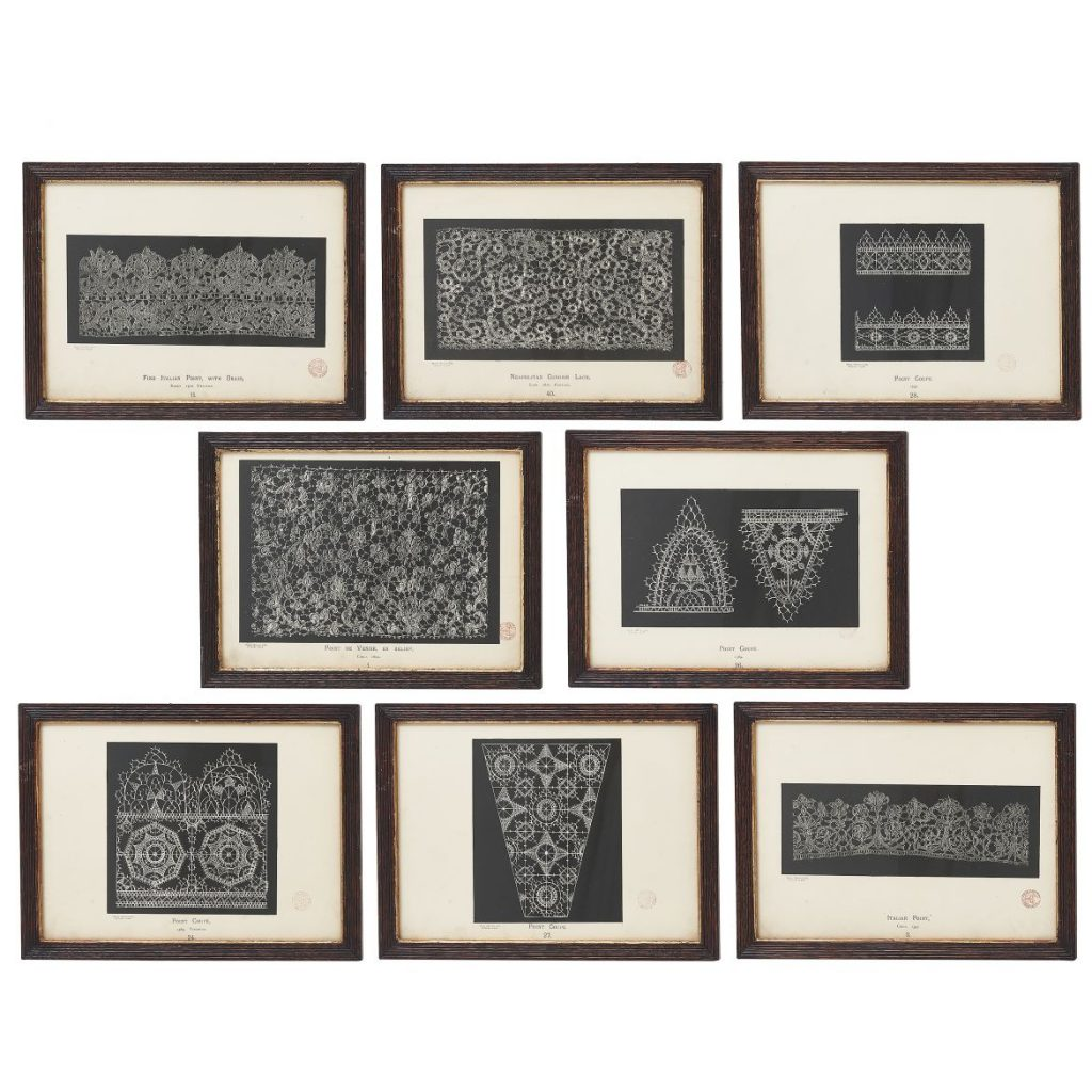 """8 Lithographs from """"History of Lace"""""""