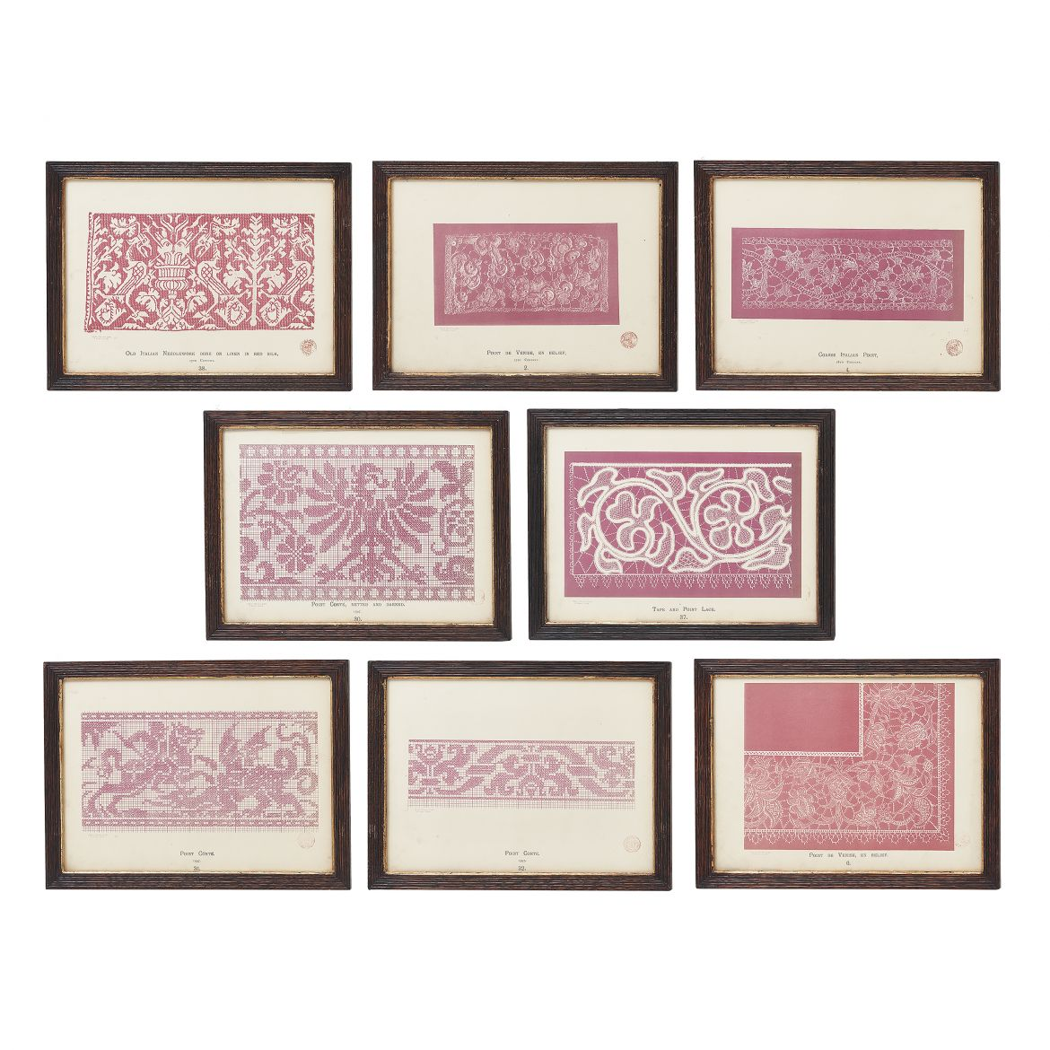 "Red ""History of Lace"" Lithographs"