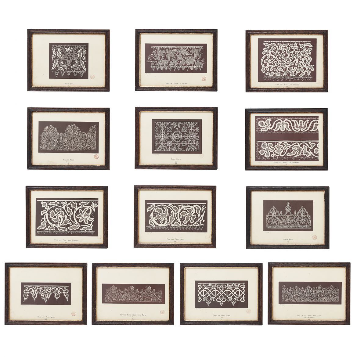 Set 13 Lithographs From 'History Of Lace'