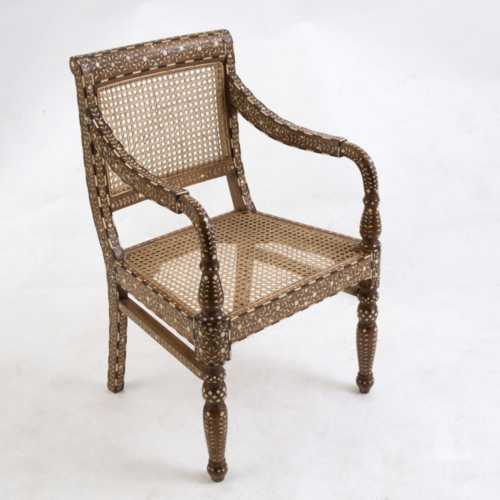 Contemporary Inlaid Caned Armchair