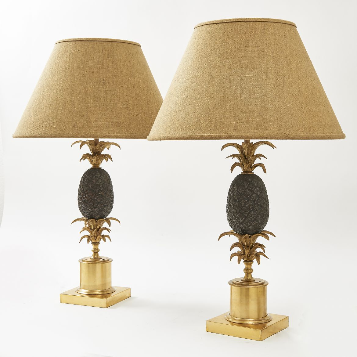 Pair Bronze Pineapple Lamps