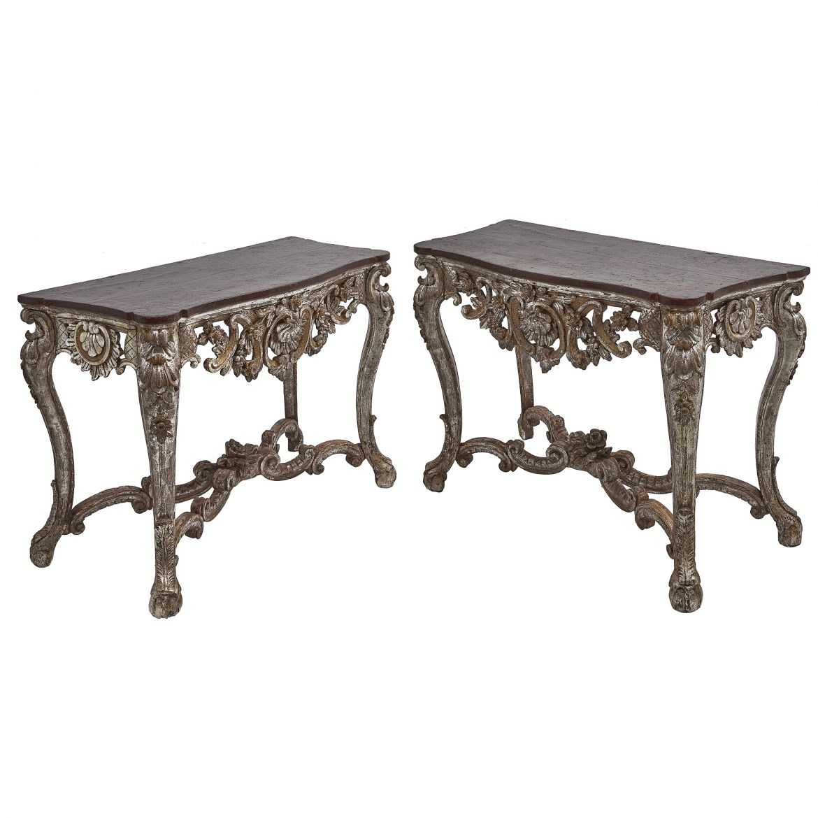 Pair Baroque Silver Gilt Consoles