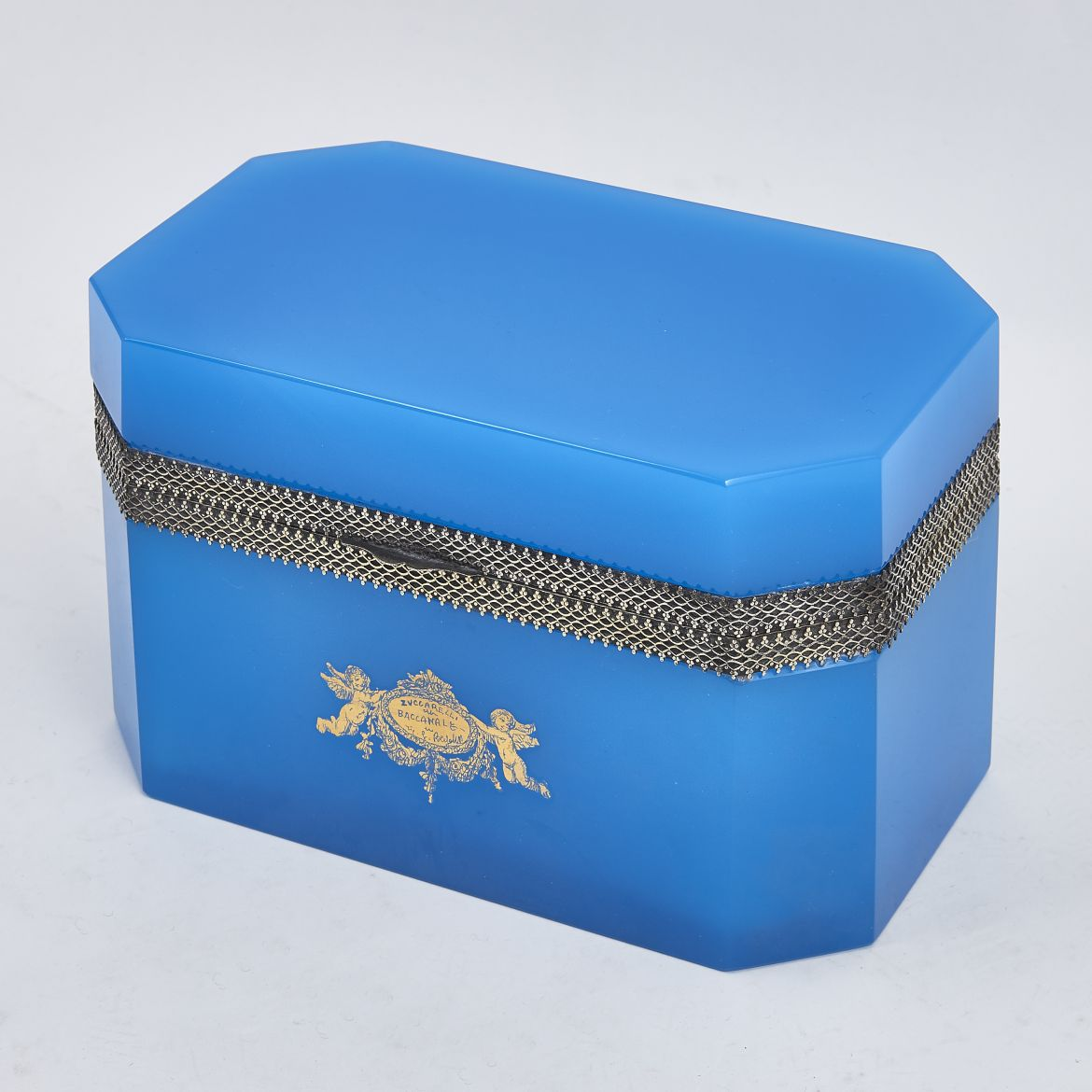 Large Blue Opaline Casket
