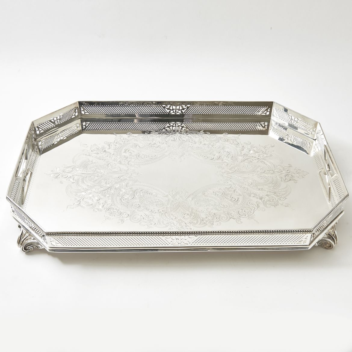 Victorian Silver Plate Rectangular Tray