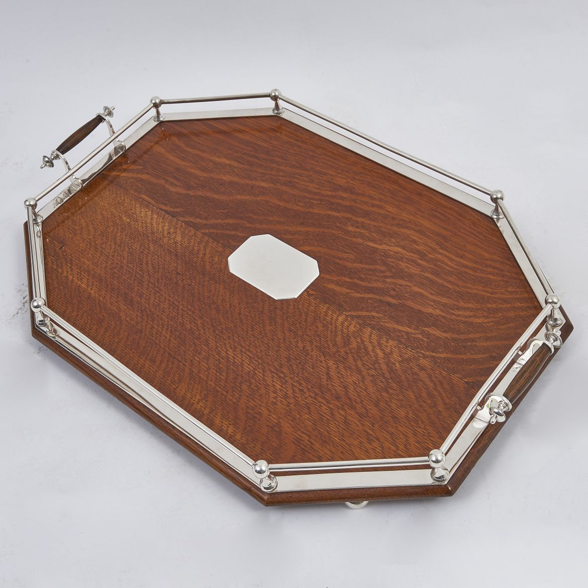 Oak and Silver Plate Tray