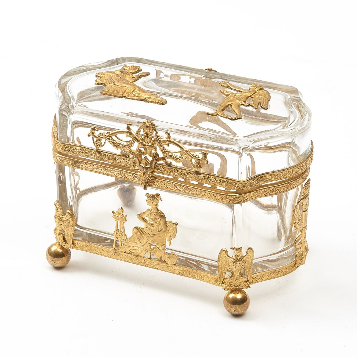 Glass Casket with Neo Classical Motifs