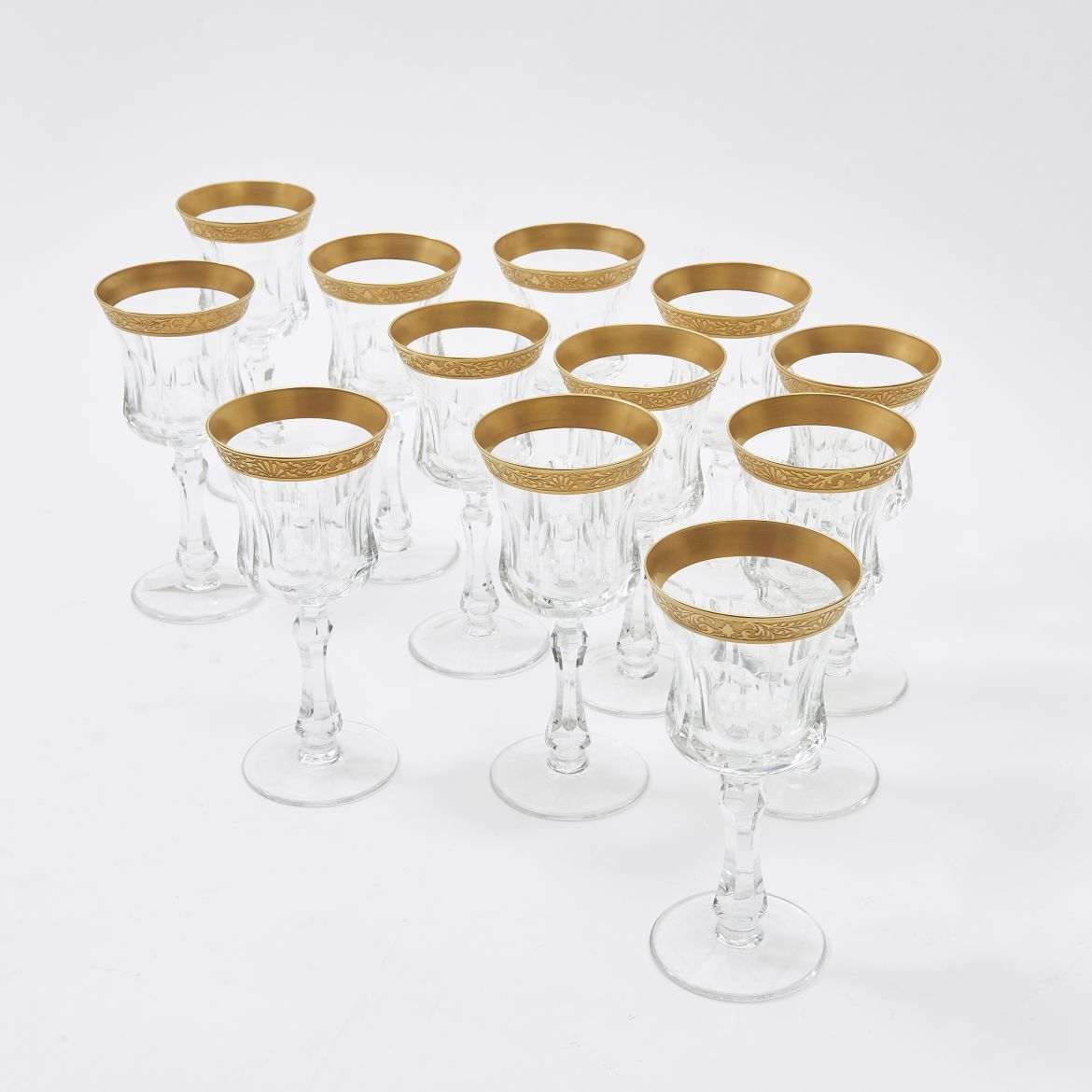 Twelve Moser Style Wine Glasses