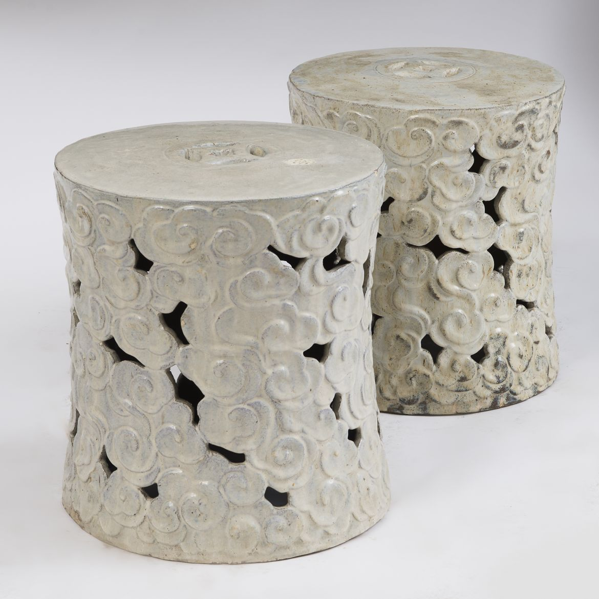 Pair Chinese 'Celestial Cloud' Garden Stools