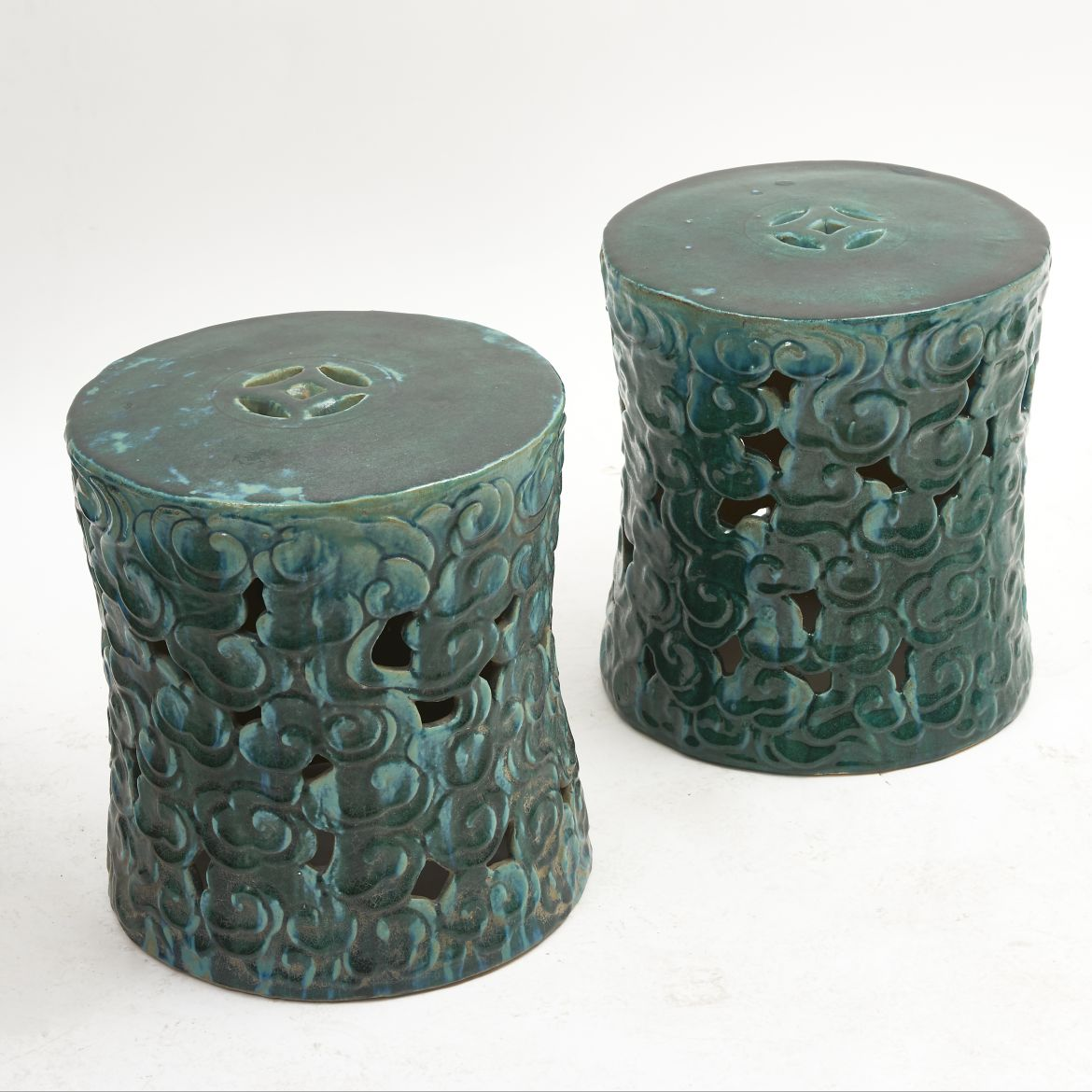 "Chinese Green ""Celestial Cloud"" Garden Stools"