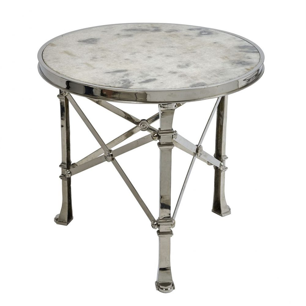 Contemporary Chrome and Marble Table