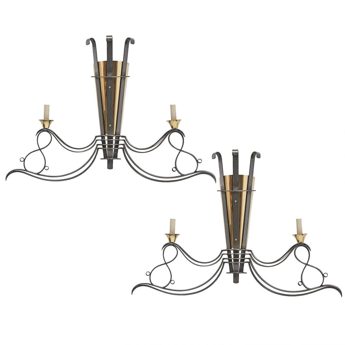 Steel and Brass Sconces