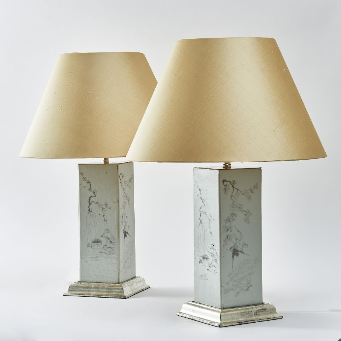 Pair Grisaille Decorated Porcelain Lamps