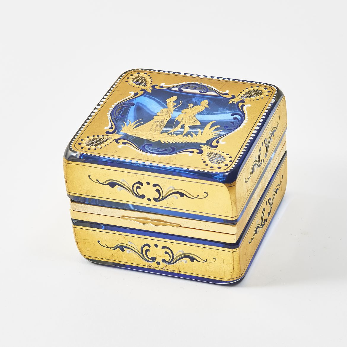Square Blue & Gilt Murano Casket