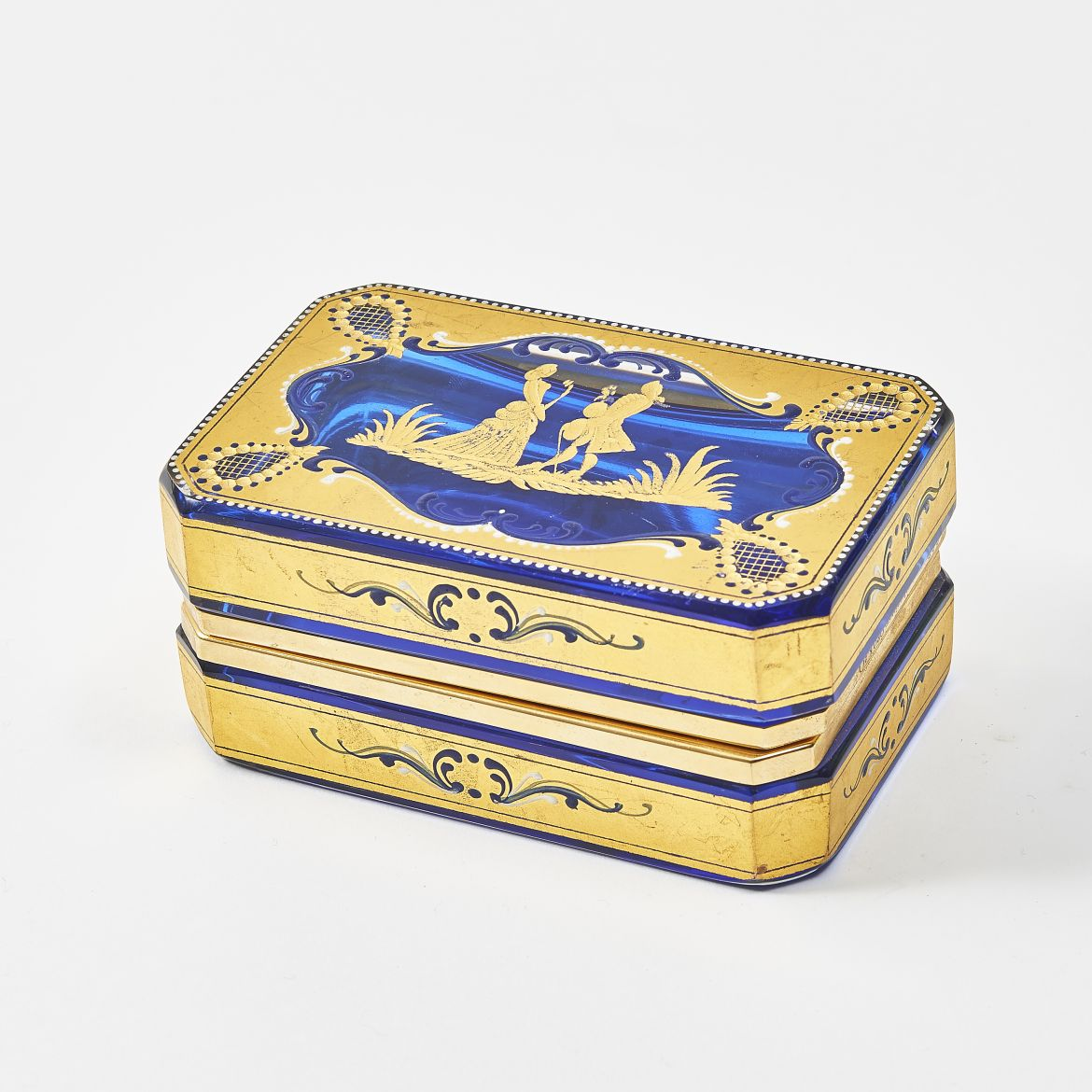 Blue Casket with Gold Overlay