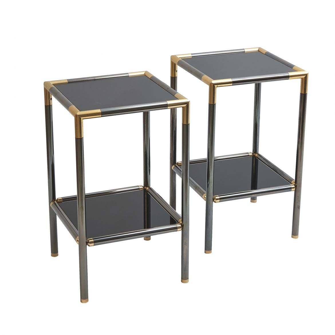 Pair Gun Metal Side Tables