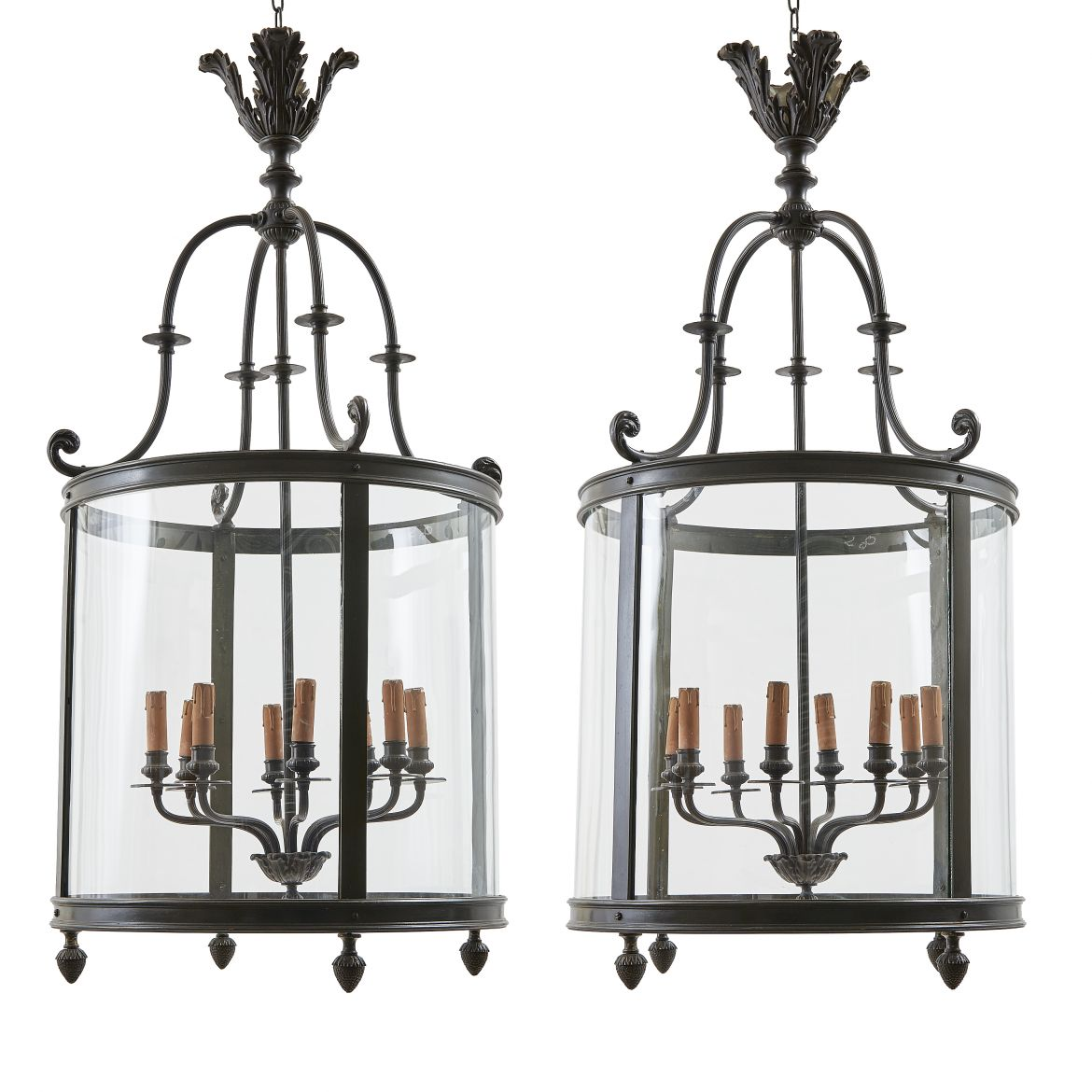 Pair French Bronze Lanterns