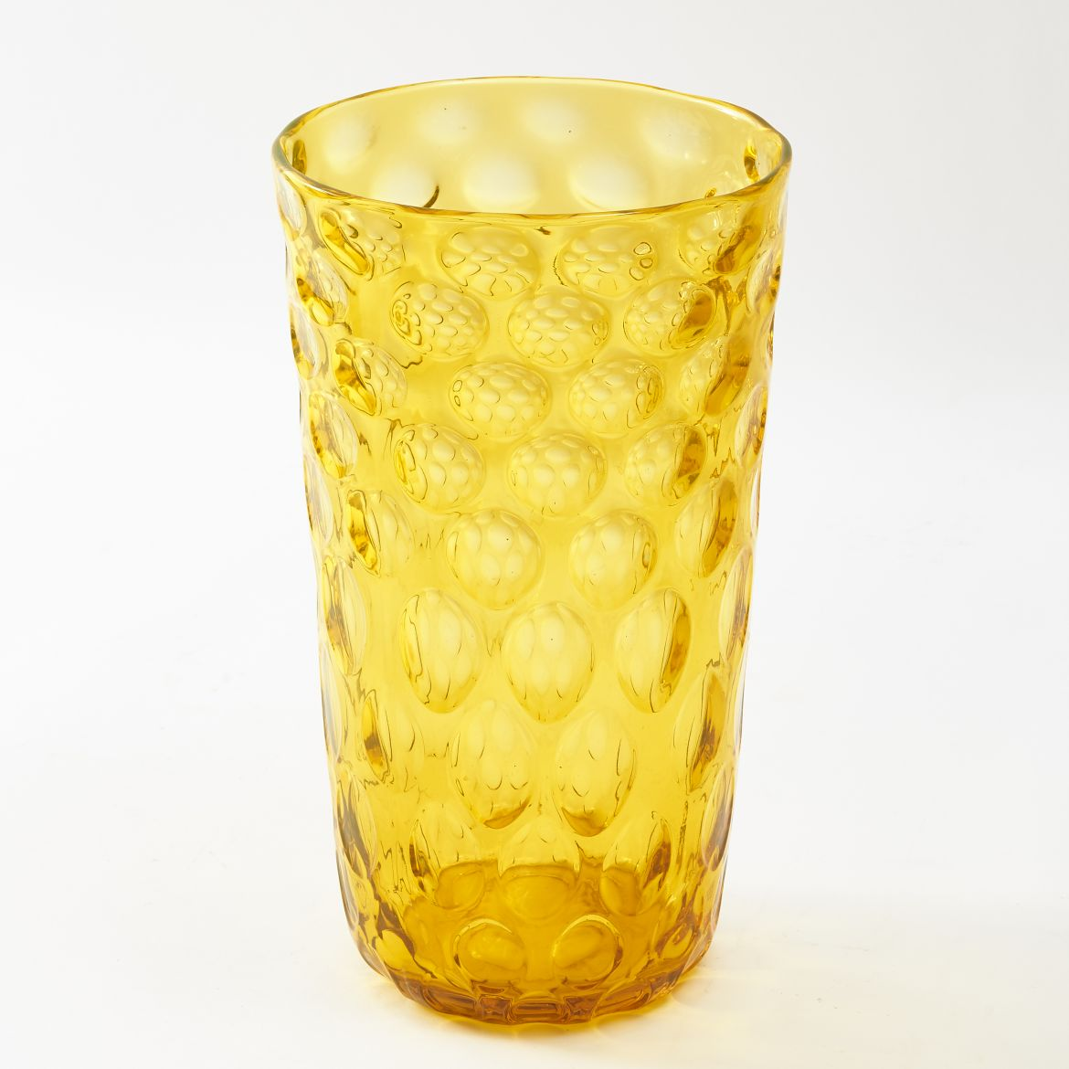 Yellow Dimpled Glass Vase