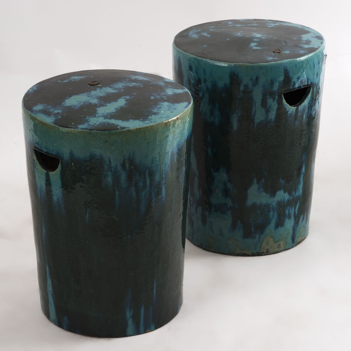 Pair Green Canister Stools