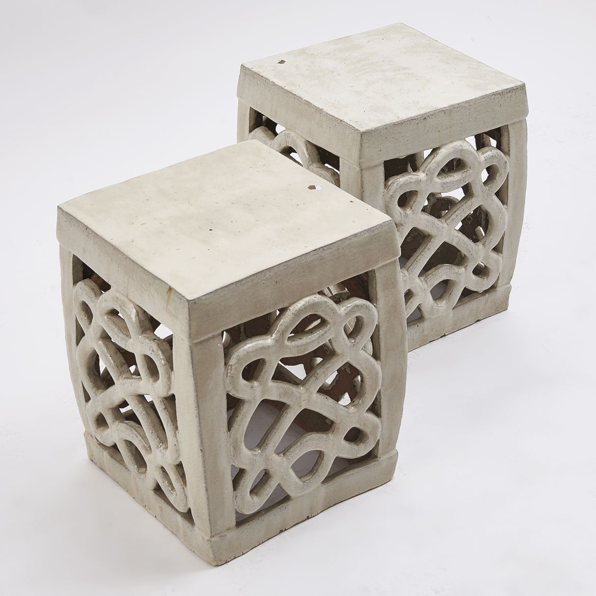 Chinese Cream Square Garden Stools