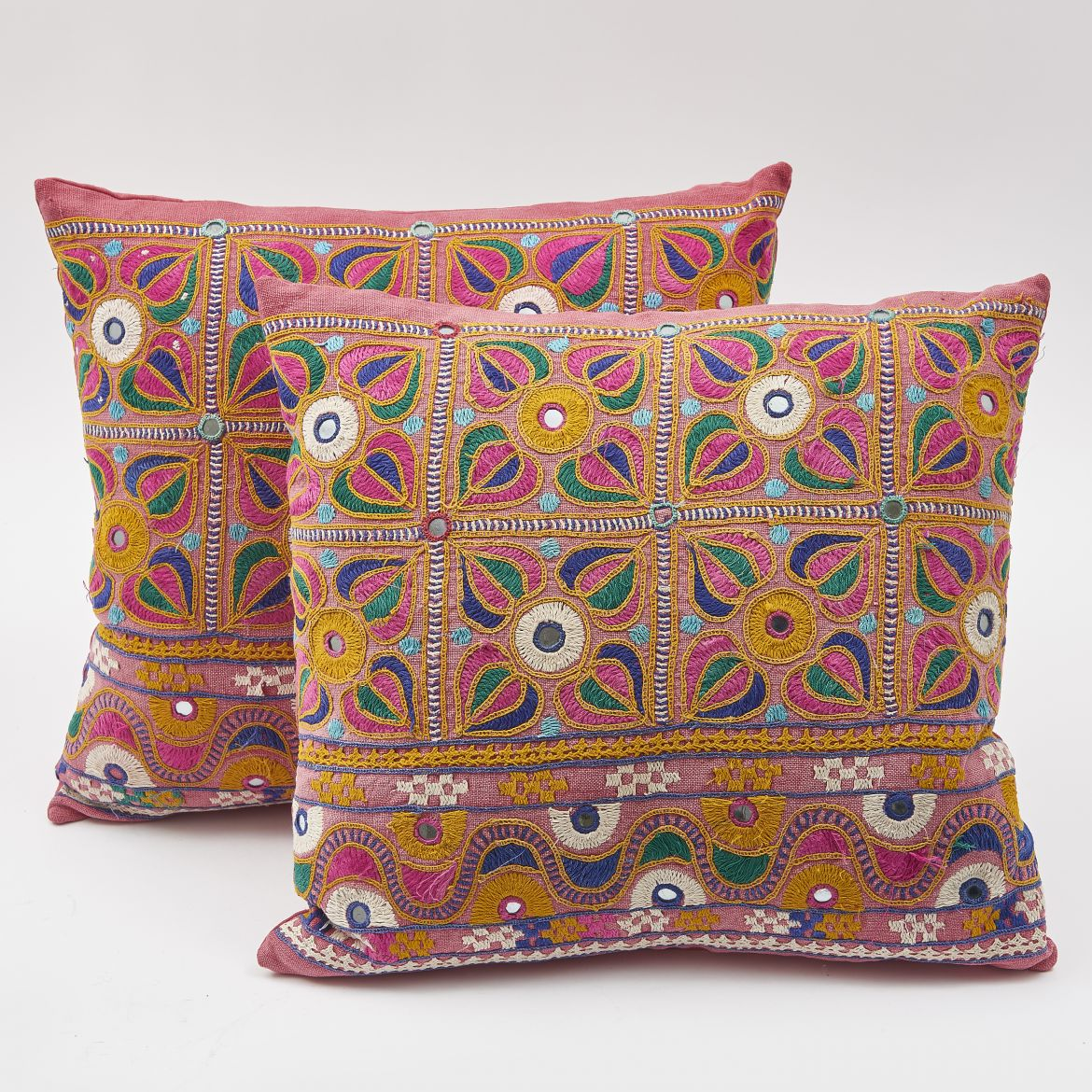 Pink Antique Indian Fabric Cushions