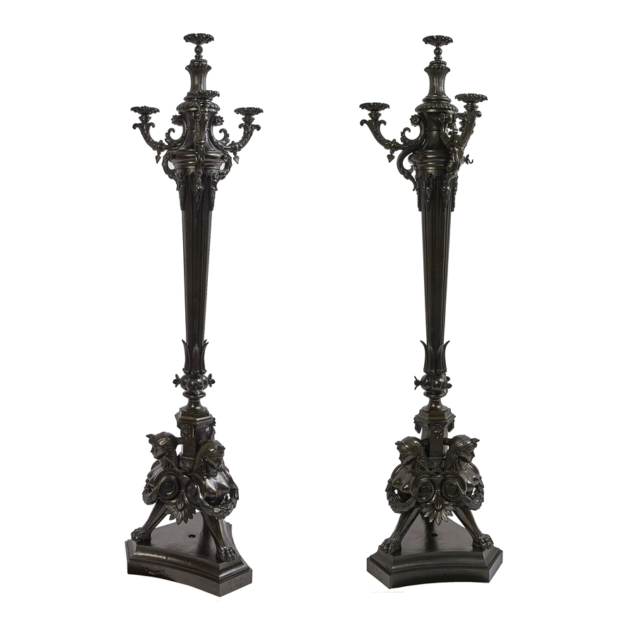Pair of Bronzed Cast Iron Torcheres