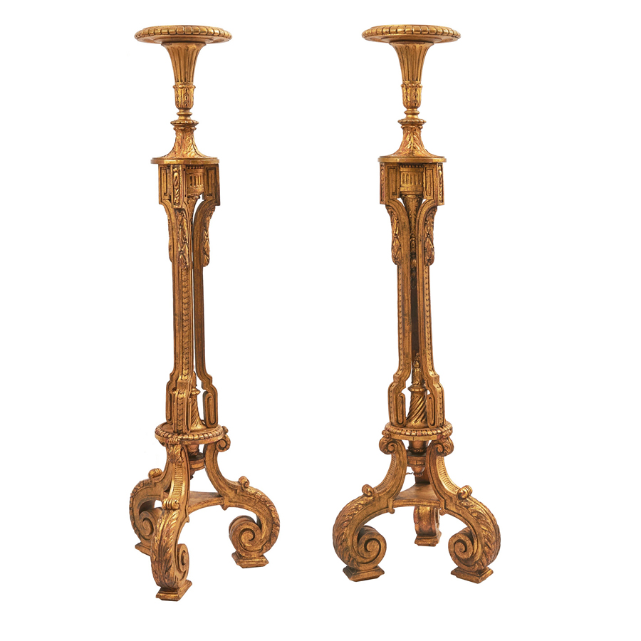 French Neoclassical Giltwood Torcheres