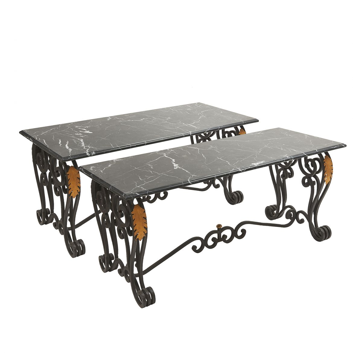 Pair Wrought Iron Tables with Marble Tops