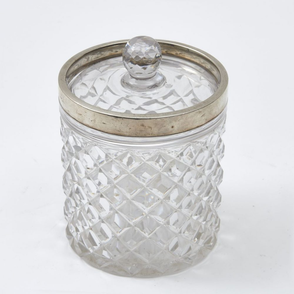 English Cut Crystal Biscuit Box