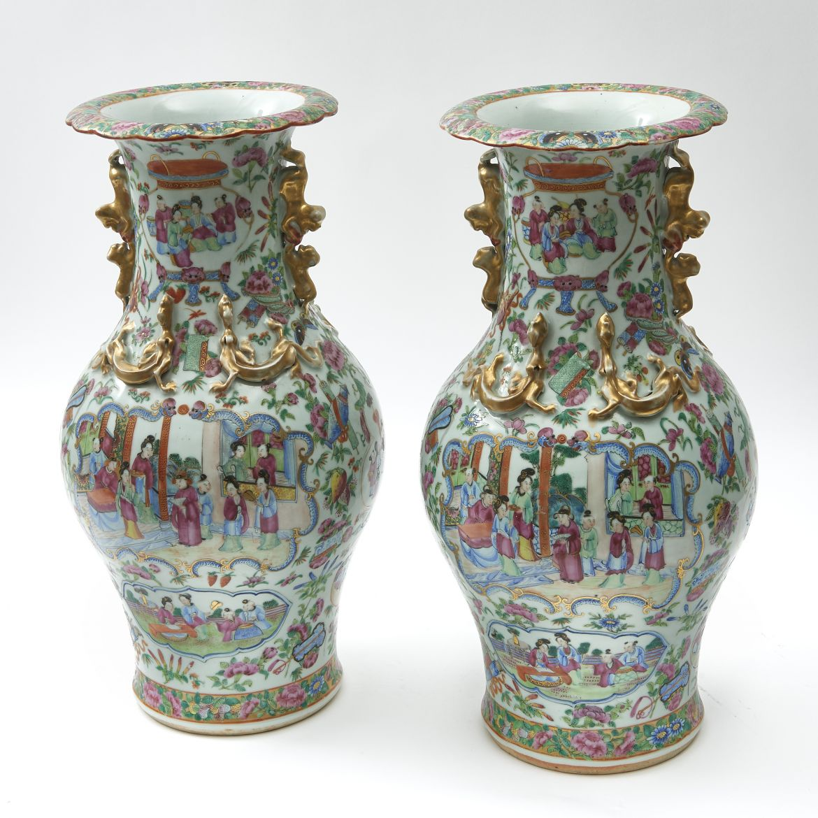 Pair Chinese Famille Rose Vases