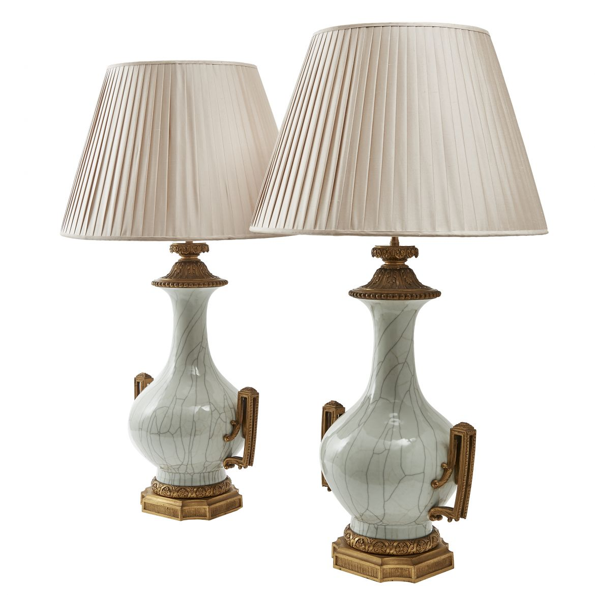 Pair of Chinese Lamps with Ormolu Mounts