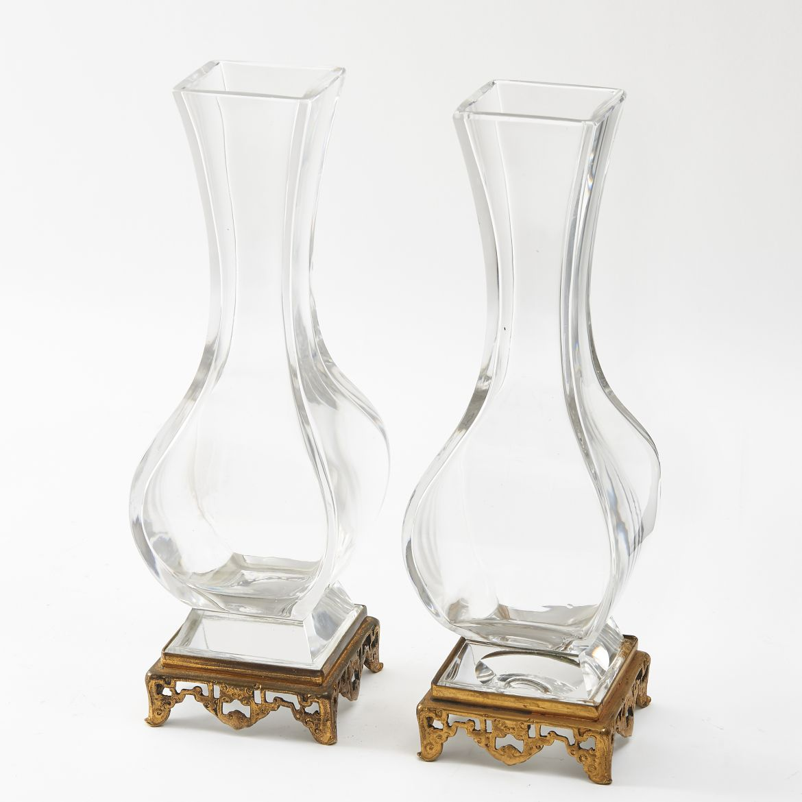 Pair French Crystal Vases