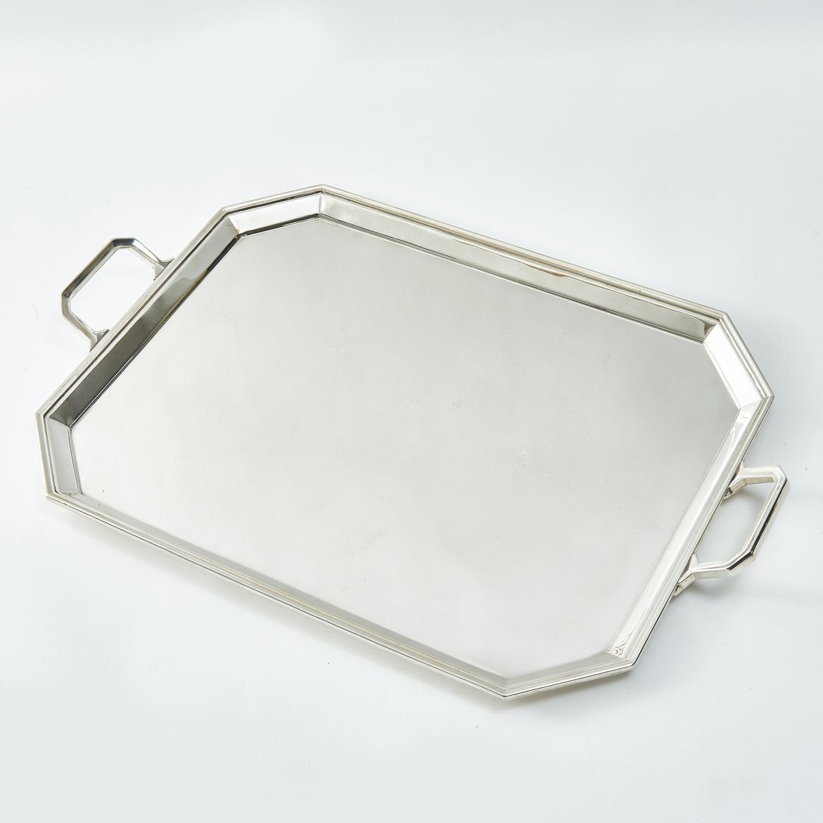 Silver Plate Tray With Canted Corners