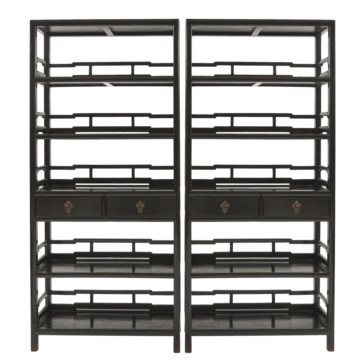 Pair of Chinese Lacquered Bookshelves