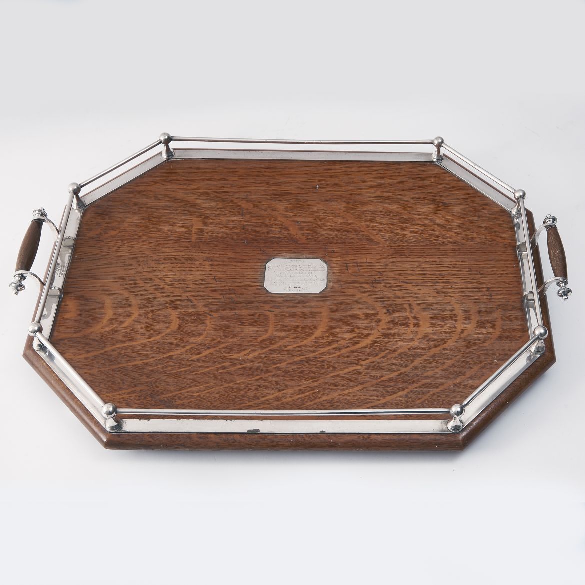 Octagonal Oak And Silver Tray