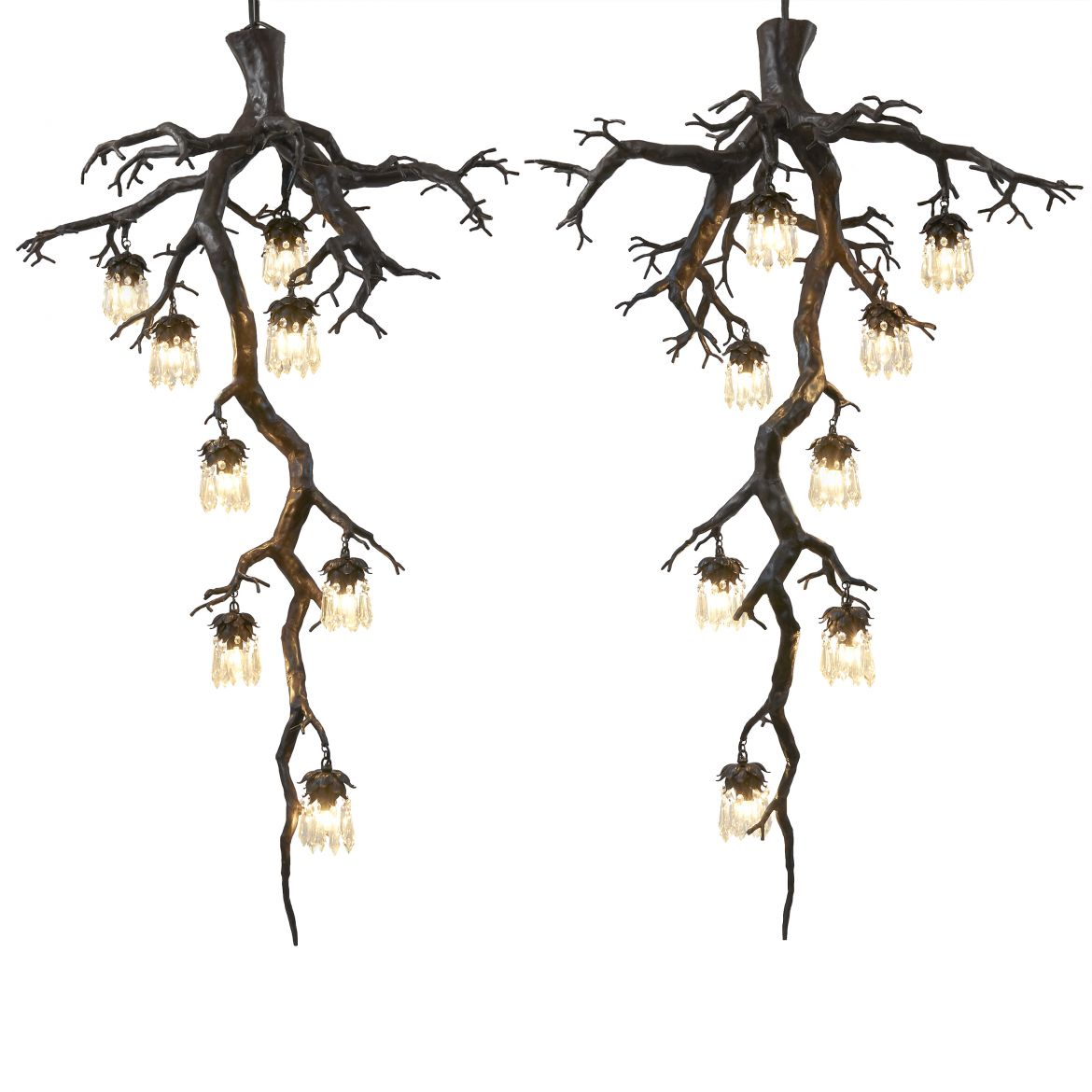 Bronze Tree Form Chandeliers