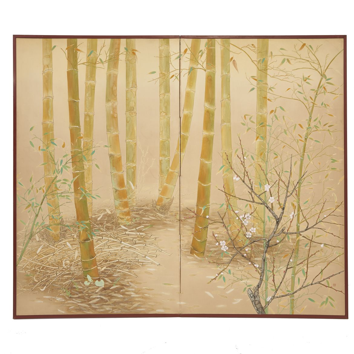 Japanese Two Fold Screen with Bamboo