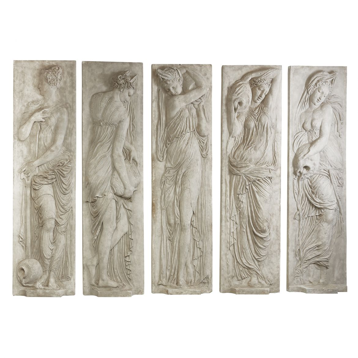 Five Plaster Relief Panels of Nymphs