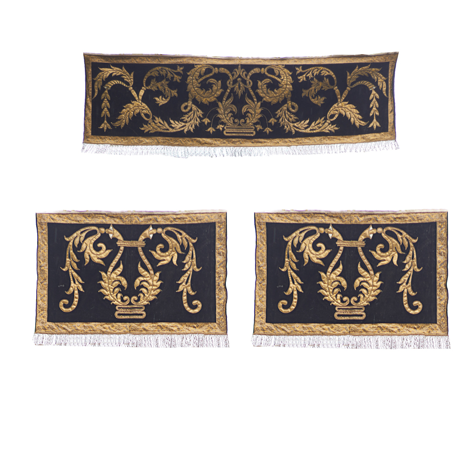 Set of 3 Gold Thread Panels