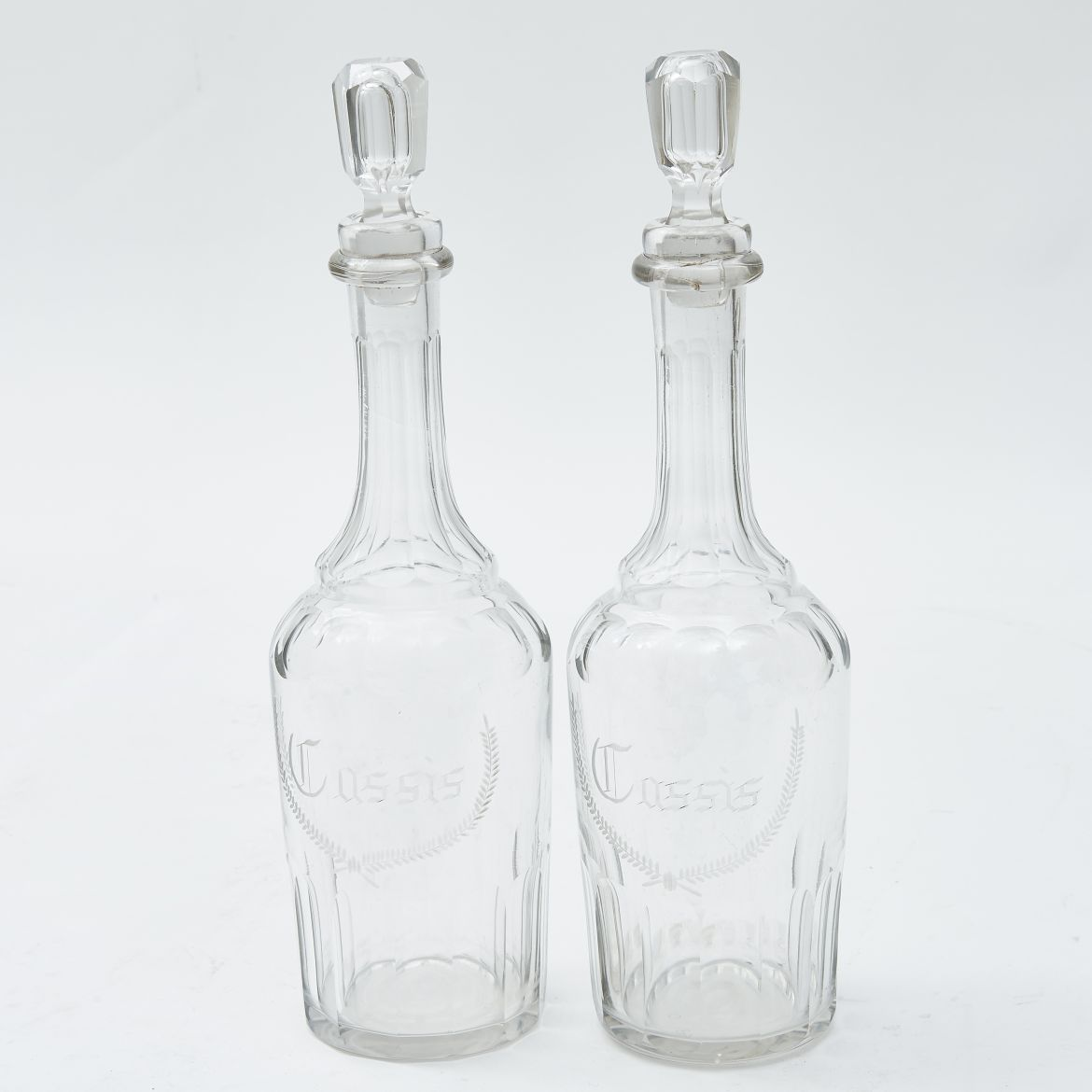 Pair French Cassis Decanters