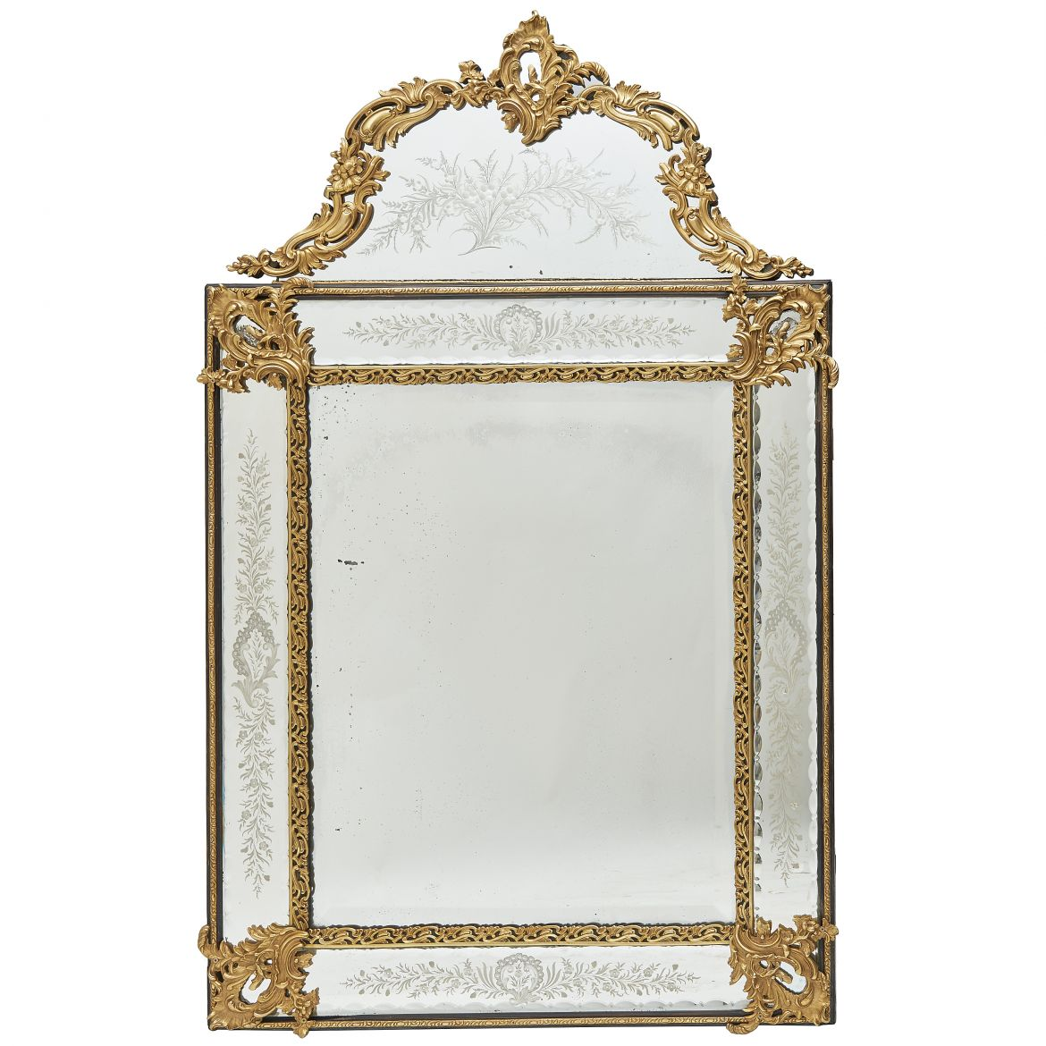 Bronze and Engraved Mirror