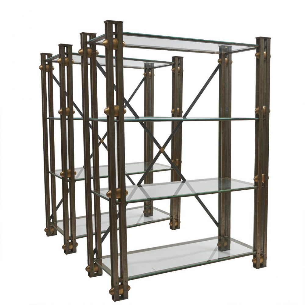 Contemporary Steel and Bronze Shelving Units