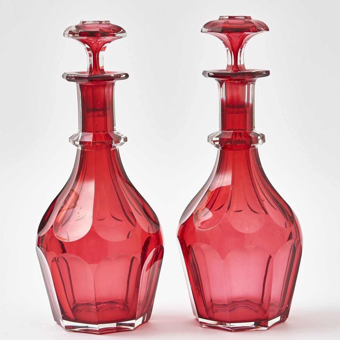 Pair Red Overlay Decanters