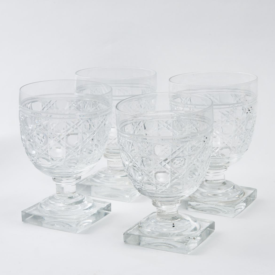 Four Hobnail Cut Goblets