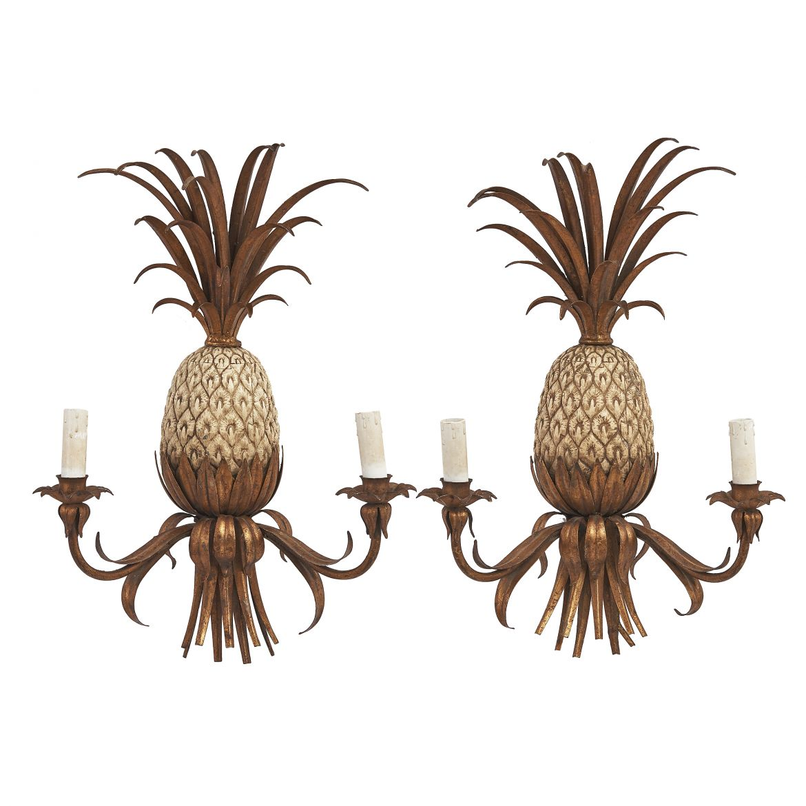 Pair Mid Century Pineapple Sconces