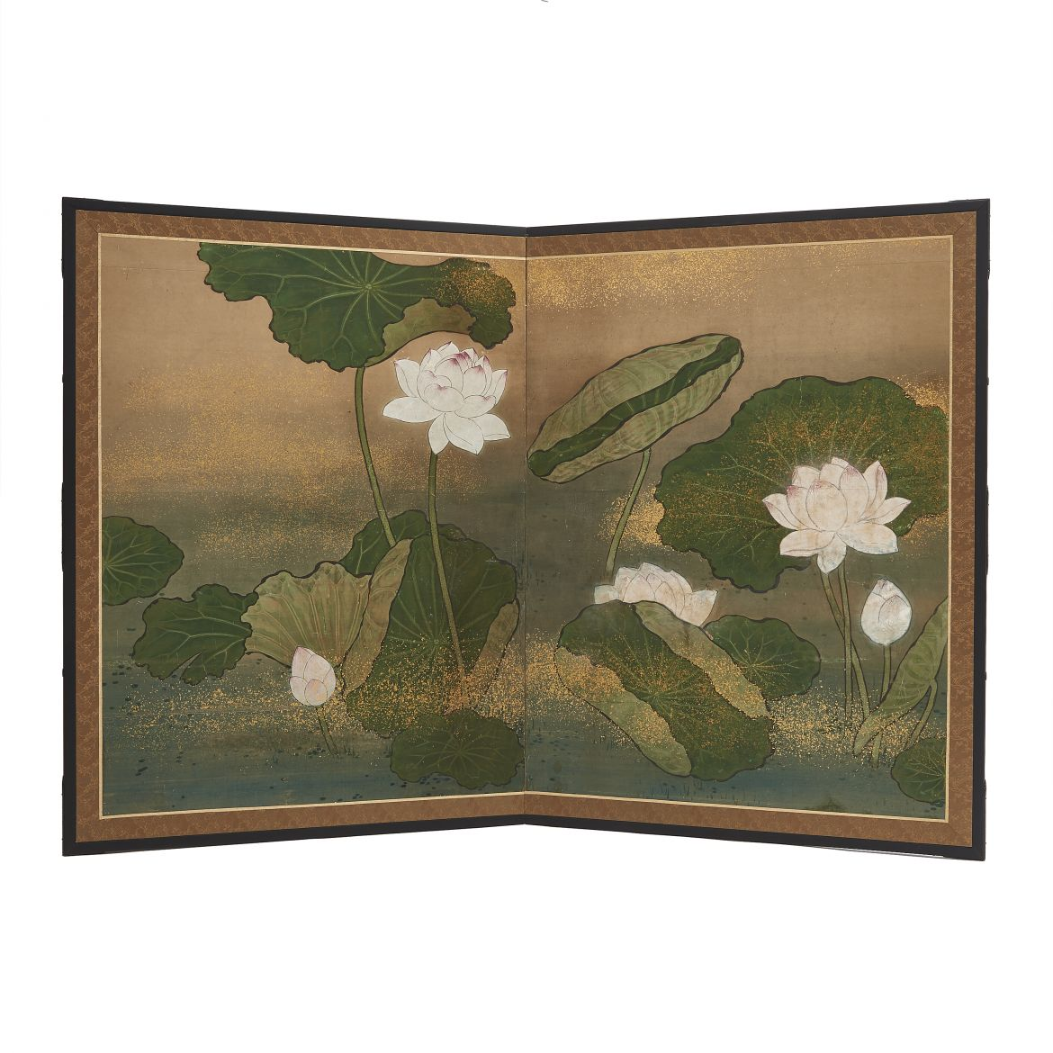 Painted Screen with Water Lilies
