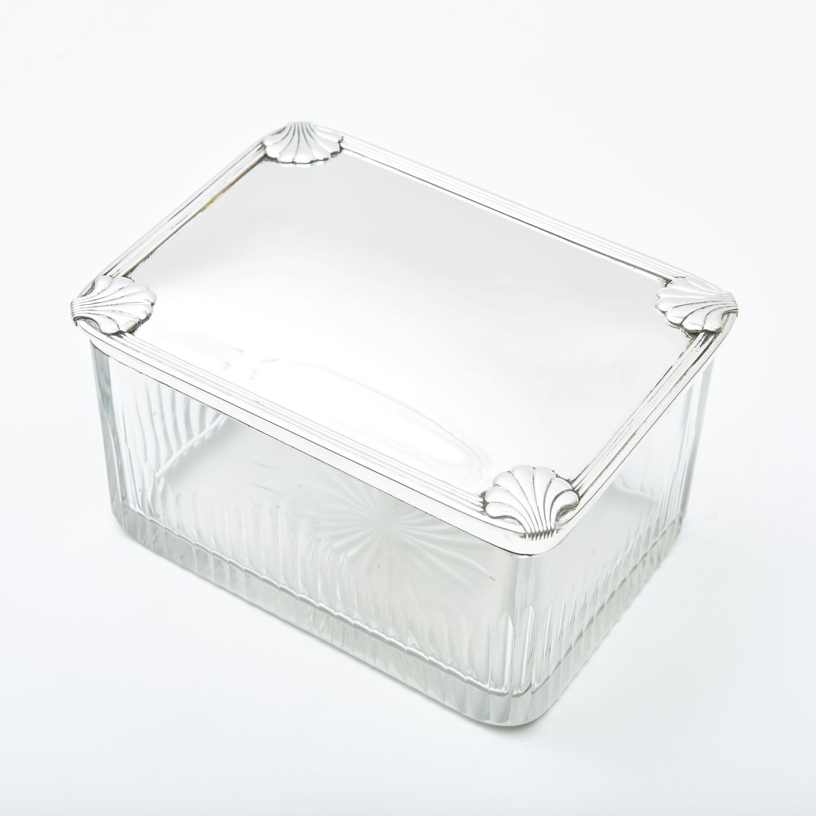 French Silver & Cut Crystal Box